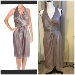 $248 Vera Wang Chiffon Metallic Halter dress sz 8
